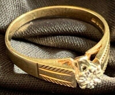 9ct Gold Diamond Ring, Lovely Raised Gallery. Size N Engagement, Wedding