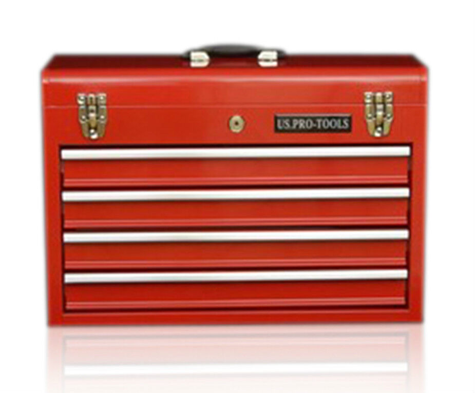 43 us pro tools top tool box chest cabinet mobile steel storage red 4 drawer ebay. Black Bedroom Furniture Sets. Home Design Ideas