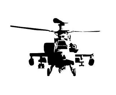 AH64 Apache Attack Helicopter A Vinyl Decal Sticker Window Glass Army -
