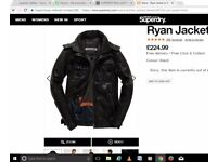 SUPERDRY REAL LEATHER Ryan Jacket BRAND NEW WITH TAGS £224.99 ON TAG LARGE L black not brad