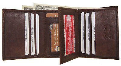 MORE 4 LESS= 100% GENUINE COWHIDE LEATHER TRI-FOLD & CENTER FLAP WALLET IN BROWN