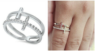 Sterling Silver 925 DOUBLE SIDEWAY CROSS DESIGN PLAIN & CLEAR CZ RING SIZES 4-12 Cross 925 Silver Ring