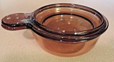 VISION WARE AMBER 15 OZ GRAB IT BOWL WITH GLASS LID V-150-B CORNING WARE