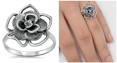 Sterling Silver 925 PRETTY OXIDIZED FLOWER DESIGN SILVER RING SIZES -