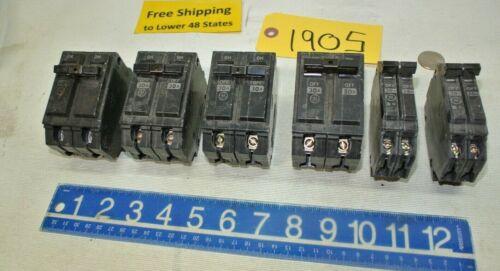 6 pcs General Electric Circuit Breakers 60 - 30 - 20 Amp Freeship