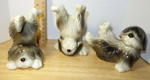 THREE 3 OLD ENGLISH SHEEPDOG FIGURINES Lot TUMBLING Dog VINTAGE QUON QUON Japan