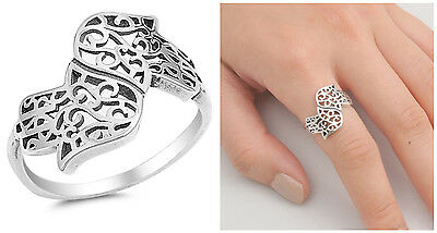 Sterling Silver Hamsa Ring - Sterling Silver 925 HAMSA HAND, HAND OF GOD LUCKY CHARM DESIGN RING SIZES 5-10