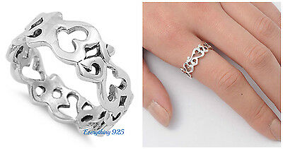 Sterling Silver 925 Pretty Om Sign Symbol Silver Band Ring 8Mm Sizes 5 10