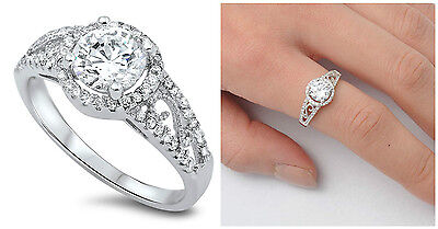 Sterling Silver 925 PRETTY ROUND STONE W/ MICRO PAVE CZ ENGAGEMENT RING SIZE4-11