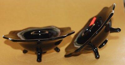 Vintage Fenton Pair BLACK GLASS CANDLE HOLDERS Taper 6 Petal Goth - Halloween Glass Candle Holders