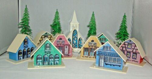 Vintage Christmas Plastic Alpine Village Houses Church Trees Lot of 12 Decor