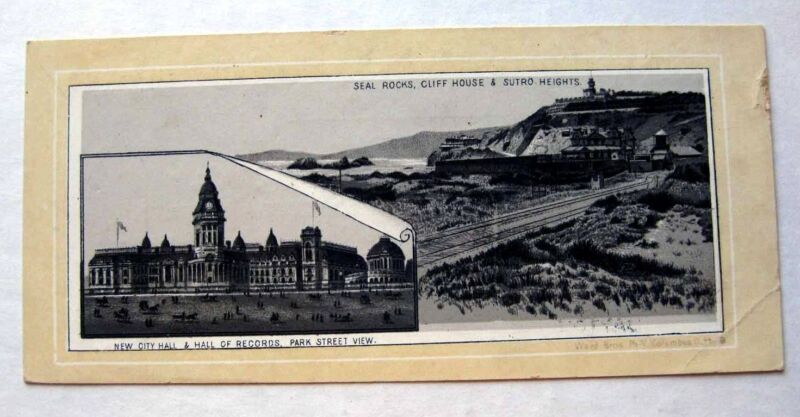 1890s Photo Lithographic View Card San Francisco  Victorian Trade Card Coffee Ad
