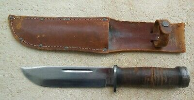WWII CATTARAUGUS 225-Q QUARTERMASTER FIGHTING KNIFE & LEATHER SCABBARD