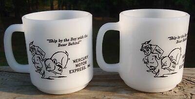 2 RARE MCM Mercury Motor Express Inc Trucking Milk Glass COFFEE MUGS by Glasbake
