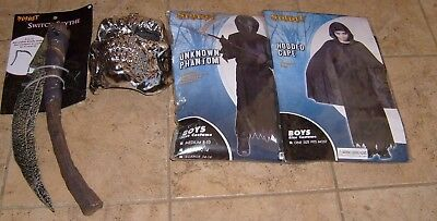 Deluxe GRIM REAPER HALLOWEEN COSTUME INCLUDES MASK- CAPE- SCYTHE NEW SZ MED