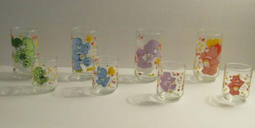 "8 Care Bears Bear 5 "" Glass 3"" Juice Glass American Greetings 1985 Good Luck +"