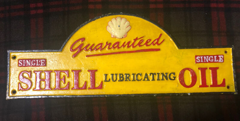 Shell Lubricating Oil Cast Iron Sign
