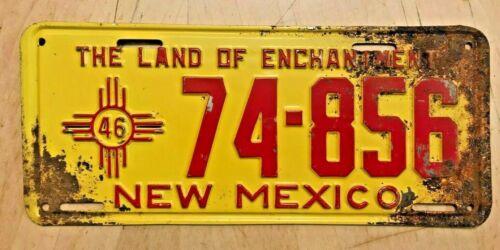 "1946 NEW MEXICO PASSENGER AUTO LICENSE PLATE "" 74 856 "" NM 46 ALL ORIGINAL"
