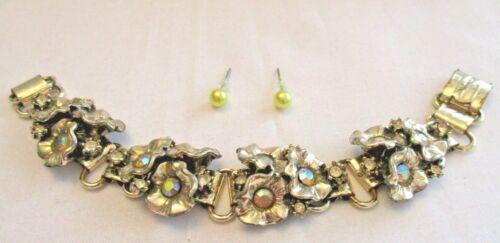 Vtg Aurora Rhinestone & Flower Bracelet & Faux Pearl Pierced Earring