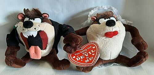 Vintage Tasmanian Plush Devil Wedding Bride Groom 1994 Animals Taz Looney Tunes