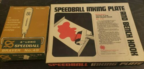 """Vintage Speedball Inking Plate and 4"""" Brayer Roller Printmaking Lot of 2"""