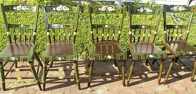 5 Paint Decorated Plank Seat Chairs Farmhouse Rustic Primitive Dark Olive Green ()