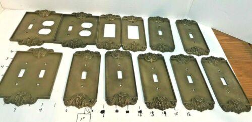 Vintage Ornate Antique Brass Switch Duplex Outlet Cover Plates 12pcs