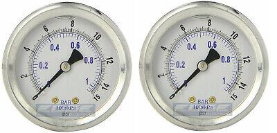 2 Pack Liquid Filled Pressure Gauge 0-15 Psi 2 Face 14 Back Mount
