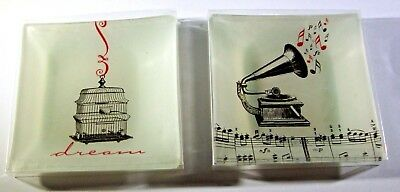 Set of Two Michaels' Brand Small Decorative Glass Trays Bird Cage and Victrola