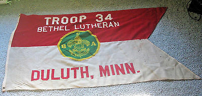 VINTAGE TROOP 34 BETHEL LUTHERAN DULUTH MINNESOTA BSA BOY SCOUTS OF AMERICA FLAG