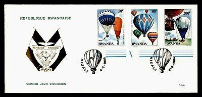 DR WHO 1984 RWANDA FDC BALLOON COMBO IMPERF  g20357