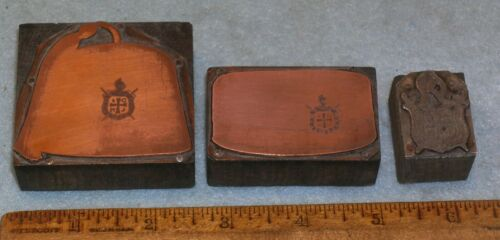 3 Antique ORDER OF DE MOLAY HAT FEZ & DEMOLAY CREST Printing Block * Lilley G207