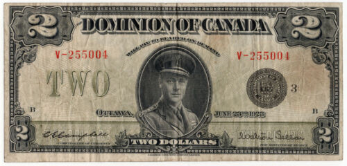 Dominion of Canada 1923 $2 Two Dollars Campbell Sellar Black Seal Series F/VF