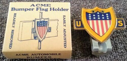 """RARE 1940s WW2 """"ACME BUMPER FLAG HOLDER"""" LICENSE TOPPER...IN BOX!"""