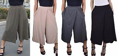 Jersey Wide Leg Cropped Capri Gaucho Pants w/ Pockets S M L Jersey Wide Leg Cropped Pants