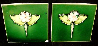 """2 Matching Antique England Tiles - 6"""" x 6"""" - 3/8"""" Thick - Floral"""