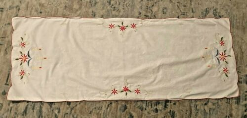 """Vintage Christmas Candle Poinsettia Embroidered Linen Table Runner 41x16"""""""