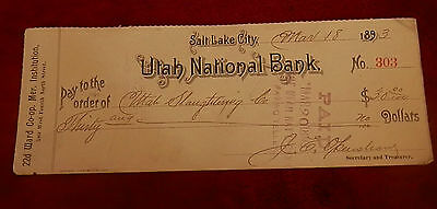 1893 Slc Utah State National Bank Check 303 Slaughtering Co 22Nd Ward Lds Mormon
