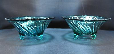 PAIR JEANNETTE AQUA TEAL GREEN ULTRAMARINE  DEPRESSION GLASS FOOTED BOWLS