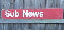 Vintage industrial railway station sub news timber sign Cranbourne East Casey Area Preview