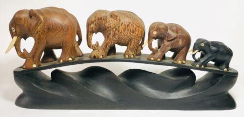 Vintage Mid Century 1950s Ceylon Elephants Fine Wood Carving Sculpture Sri Lanka