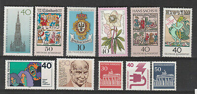 Allemagne fédérale LOt de 11 timbres (n° au dos des 3 petits ) tous **  MNH