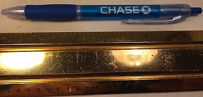 Chase Bank Light Blue Push Button Ball Point Pen Rubber Finger Grip Pocket Clip