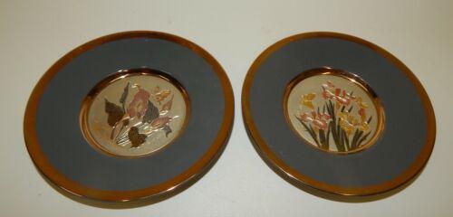 "Set of 2 Vintage Chokin Japan 6"" Plates - Lily & Iris Flowers - Mint!"