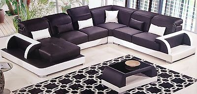 Contemporary Black White Leather Sectional Sofa Chaise Loveseat Coffee Table Set ()