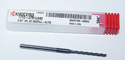 564 .0781 Carbide End Mill 2 Flute Kyocera Long Flute Length 1710-0781l940