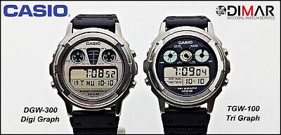 LOTE DE DOS VINTAGE CASIO TGW-100 - DGW-300, JAPAN.