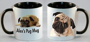 Pug face dog personalised mug printed cup puppy dogs Gift .