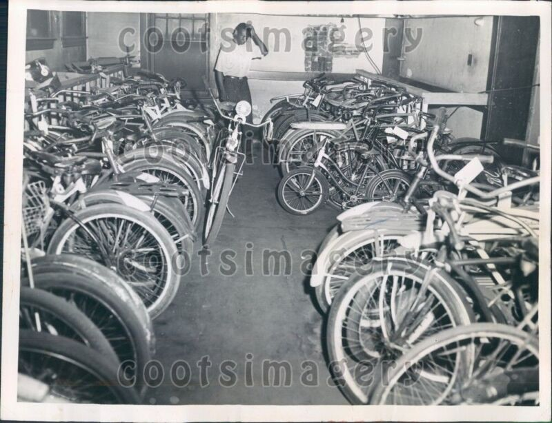 1952 Recovered Stolen Bicycles Police Station Cleveland Ohio Press Photo