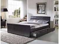 DRESDEN FOUR DRAWER king size BED frame black